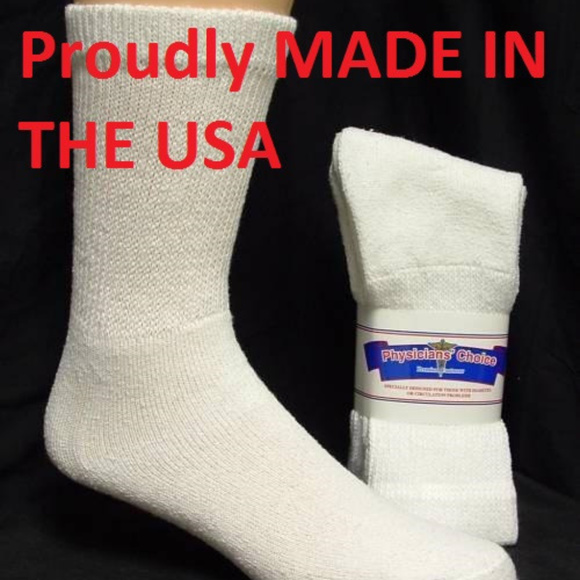 PHYSICIANS CHOICE Accessories - WHITE DIABETIC SOCKS CREW SOCKS Sz 9-11